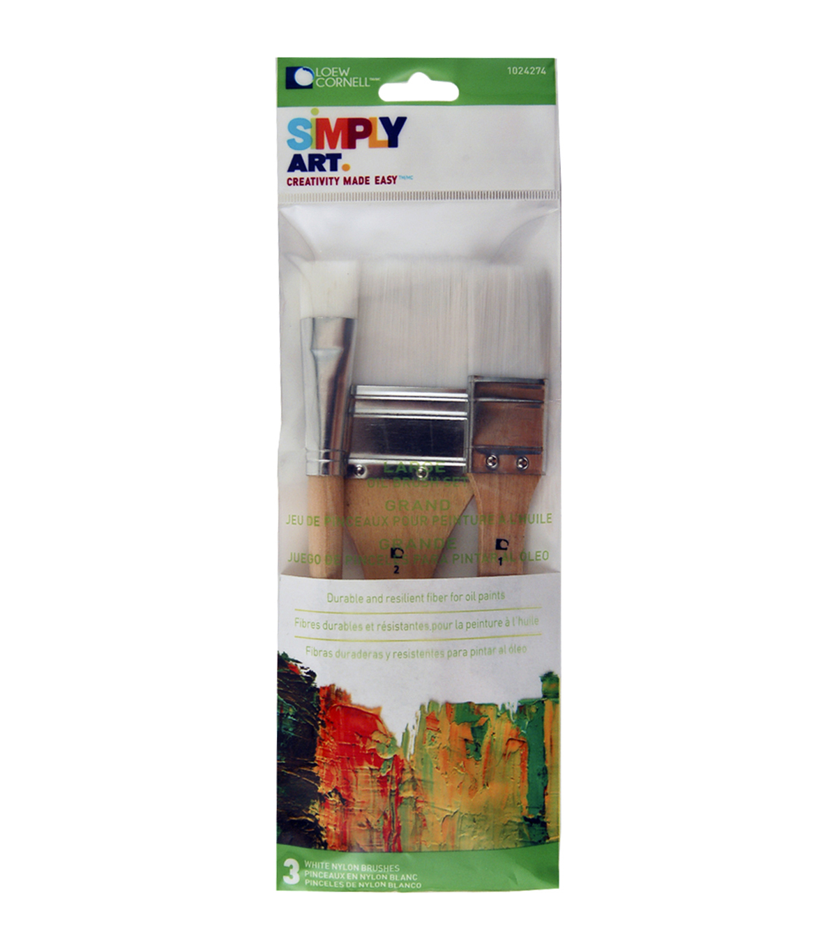 Lowe Cornell Simply Art Large White Nylon Flat Brush Set 3/Pkg-3/4\u0022, 1\u0022 & 2\u0022