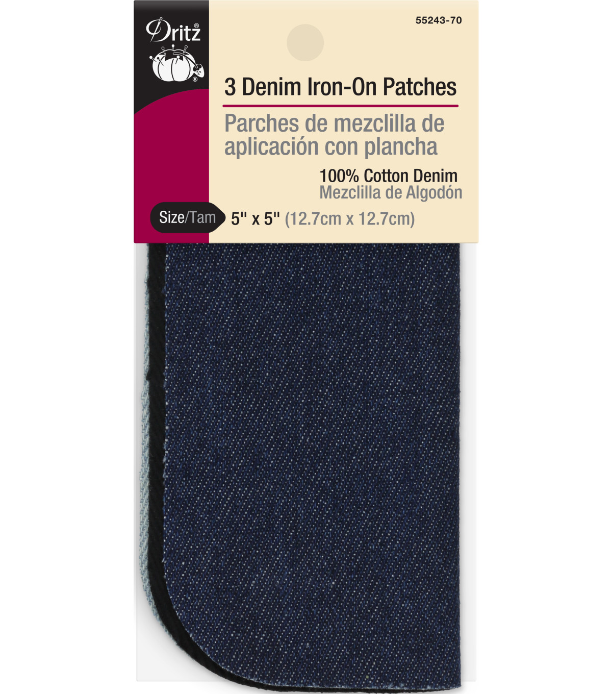 "Dritz 5"" x 5"" Denim Iron-On Patches Assorted 3pcs"