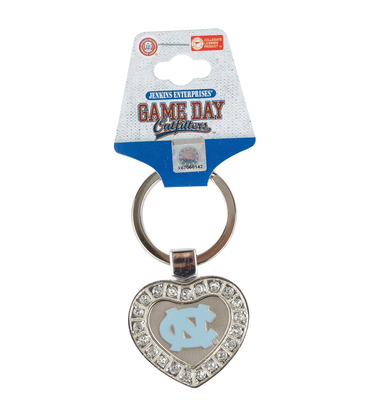 University of North Carolina Tarheels Heart Keychain