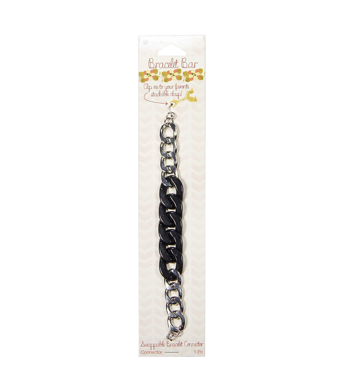 Bracelet Bar Connector  Acrylic chain, Black with Silver