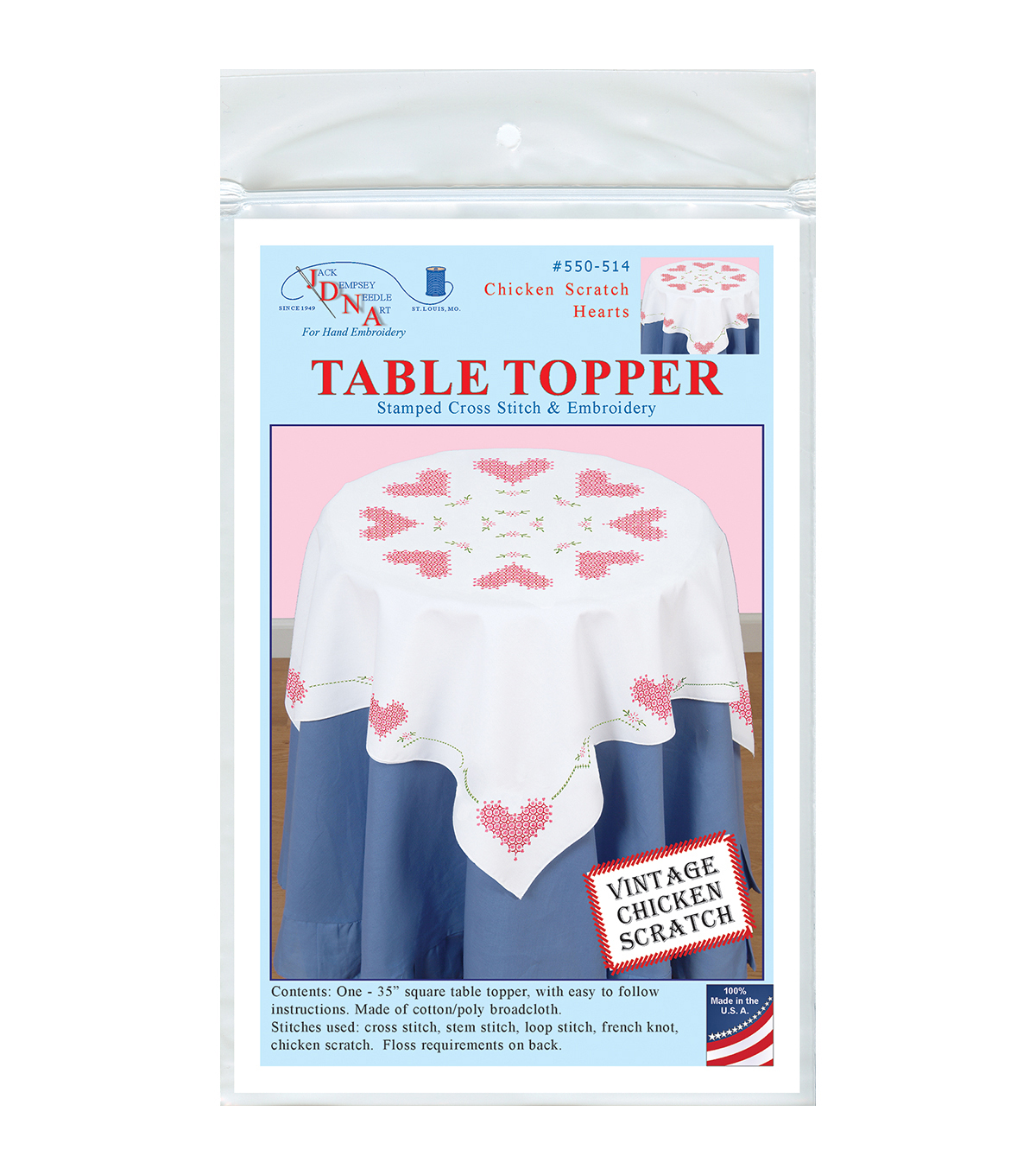Jack Dempsey Chicken Scratch Hearts Stamped Perle Edge Table Topper