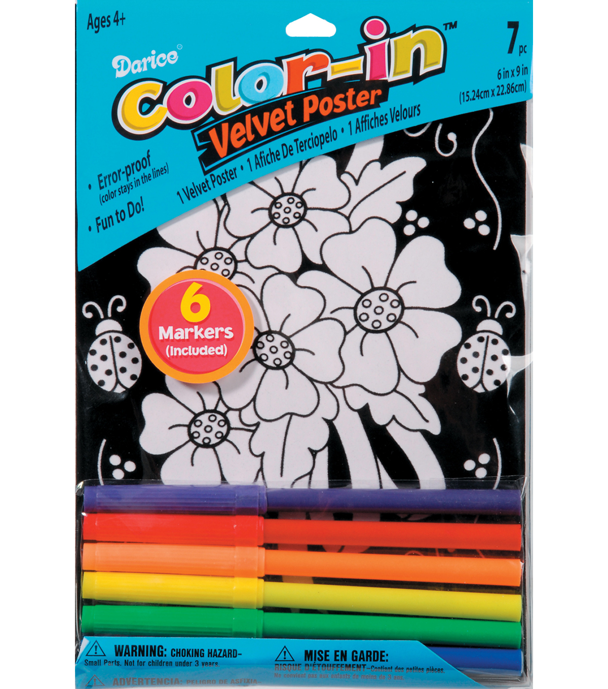 Darice Color In Velvet Posters Various Styles Wolf Ladybug Daisy