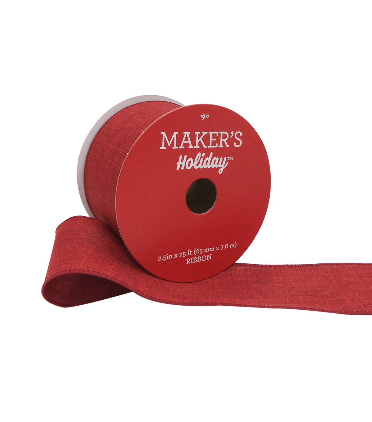 Maker's Holiday Christmas Linen Ribbon 2.5''x25'-Red