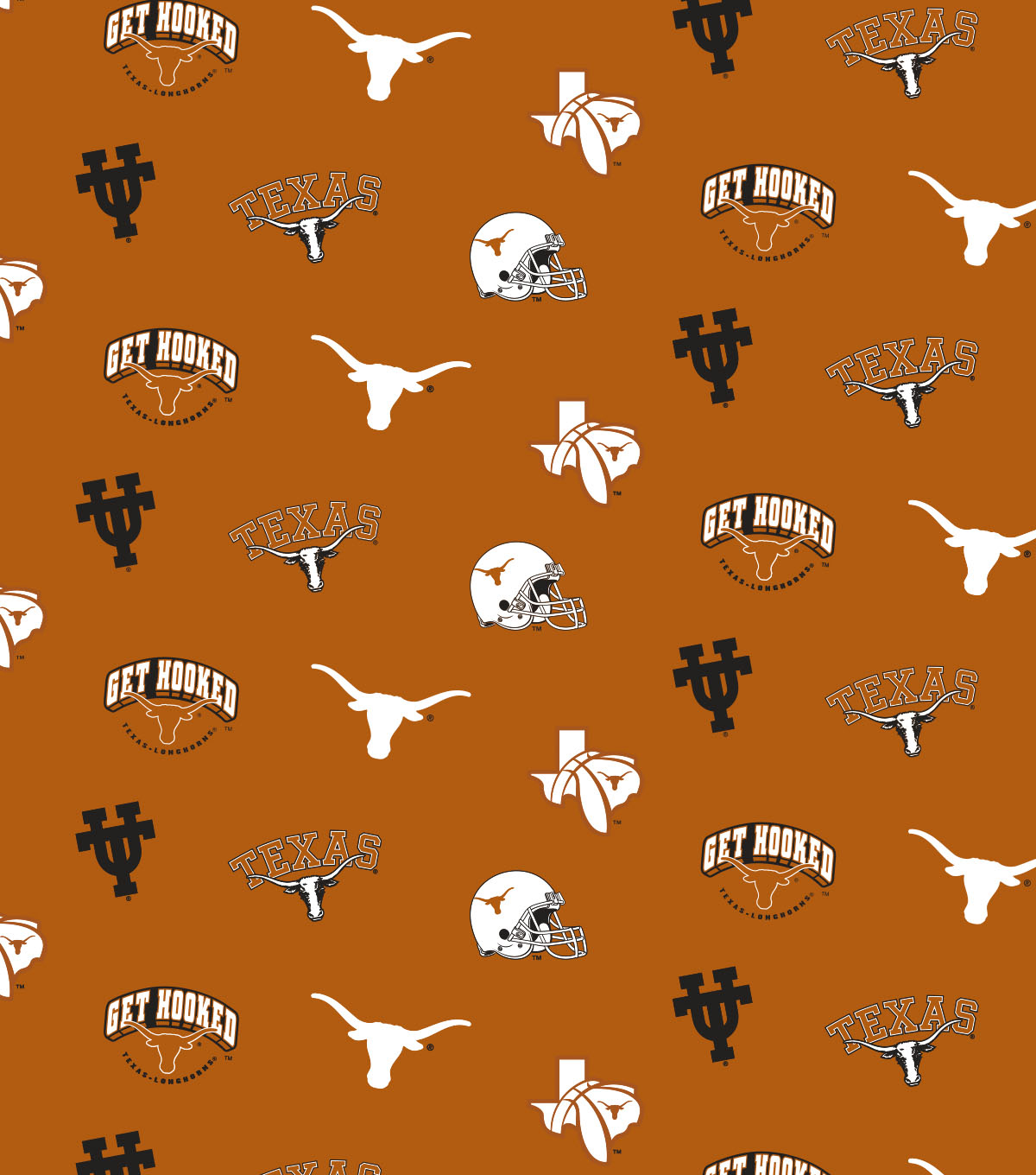 University of Texas Longhorns Cotton Fabric 44\u0022-Orange All Over