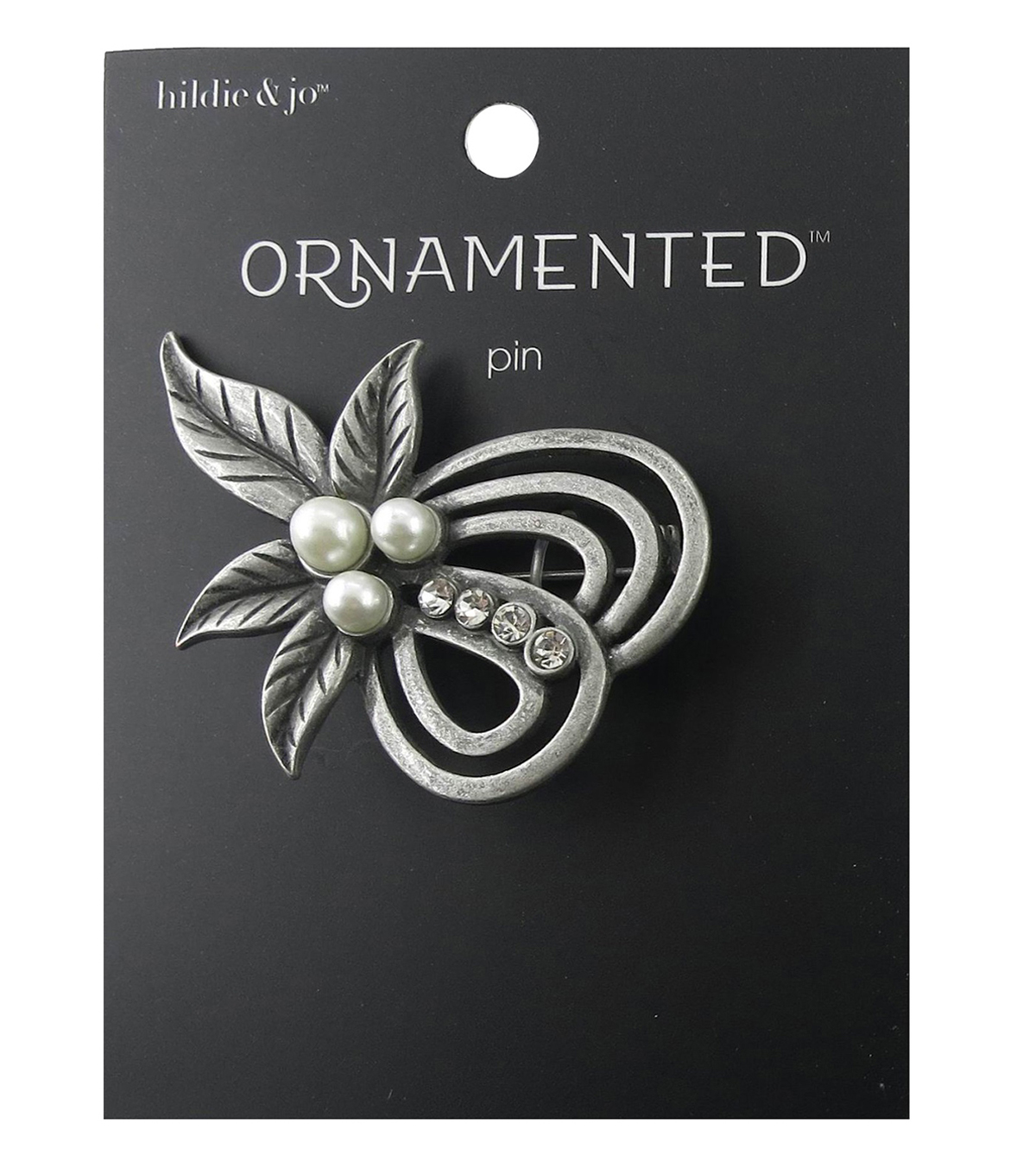 hildie & jo™ Ornamented Leaves Antique Silver Pin-Pearls & Crystal