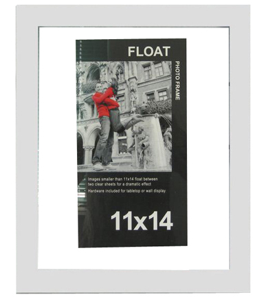 11x14 Wood Float Frame White Color