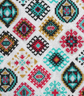 Modern Cotton Fabric 43\u0027\u0027-Aztec Diamonds on White