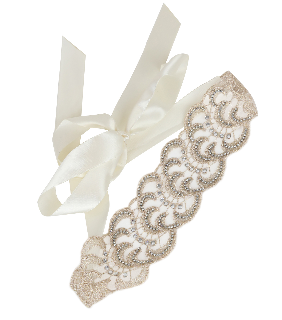 Save The Date™ Lace Rhinestone Sash-Natural