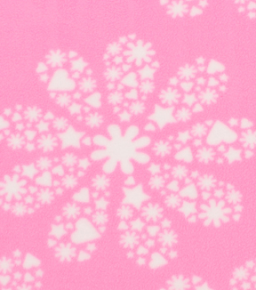 "Anti-Pill Fleece Fabric 59""-Patterned Trapped Daisy Pink"