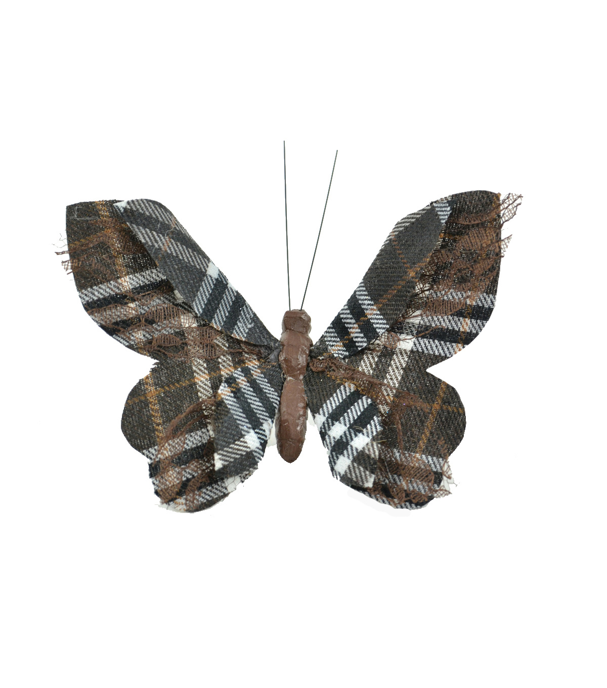 Blooming Autumn Small Brown Plaid Butterfly With Lace