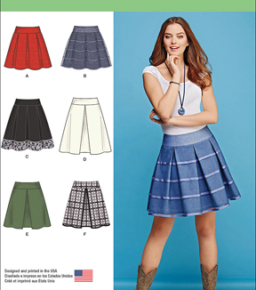 Simplicity Patterns Us1109H5-Simplicity Misses' Skirts With Length And Trim Variations-6-8-10-12-14