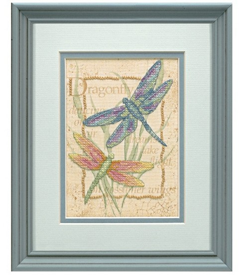 "Dragonfly Dance Mini Stamped Cross Stitch Kit-5""x7"""