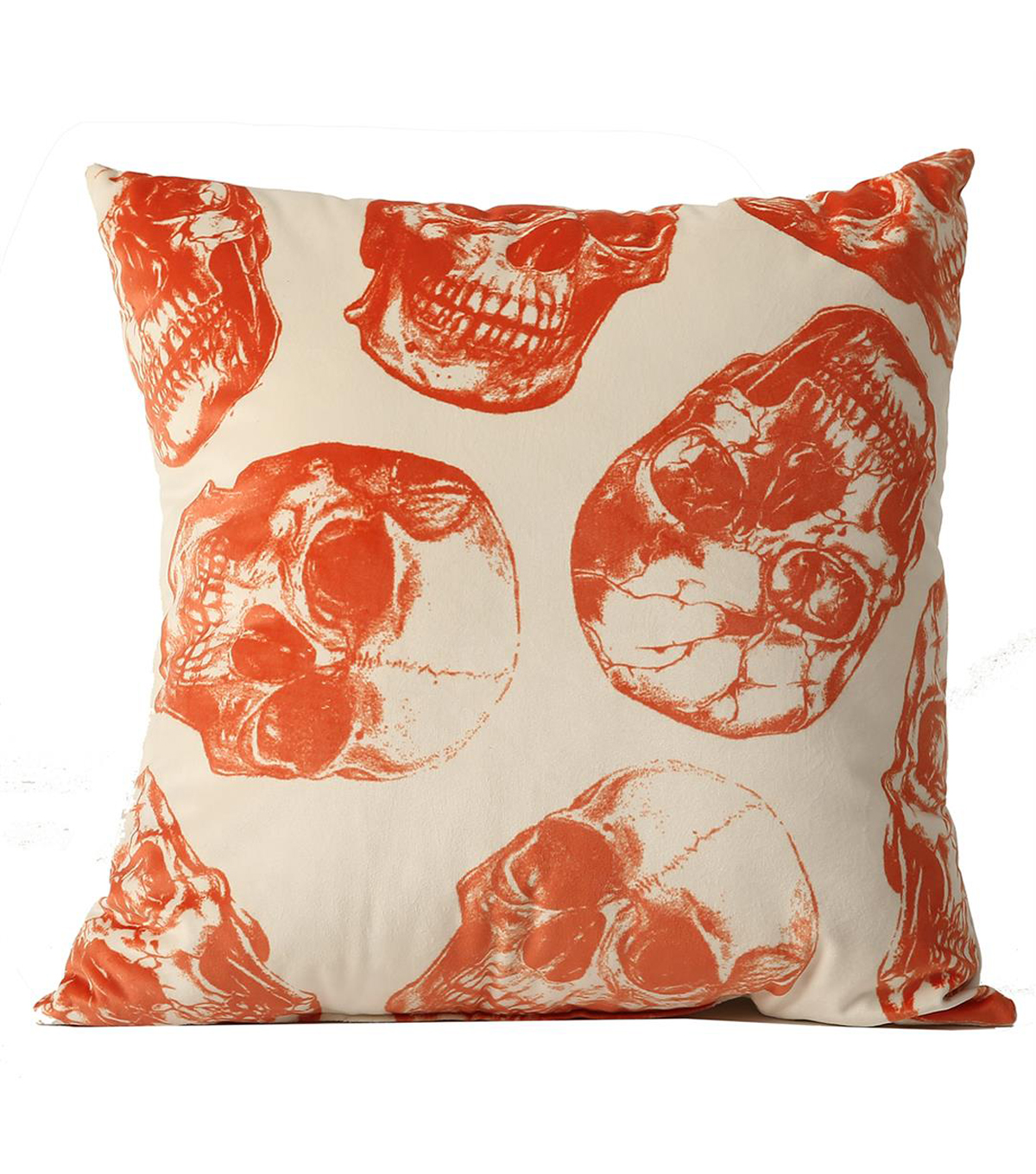Maker\u0027s Halloween Pillow-Orange Skull Print