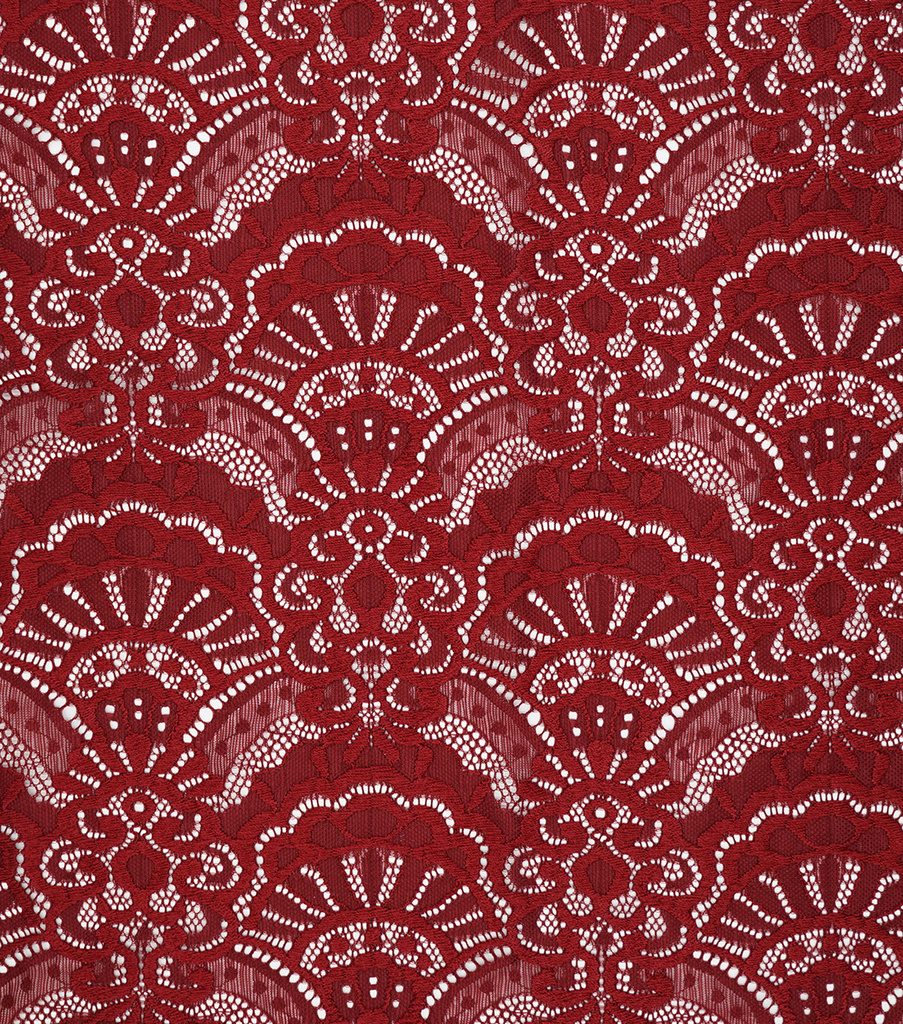 "Knit Lace Fabric 57""-Dark Red"