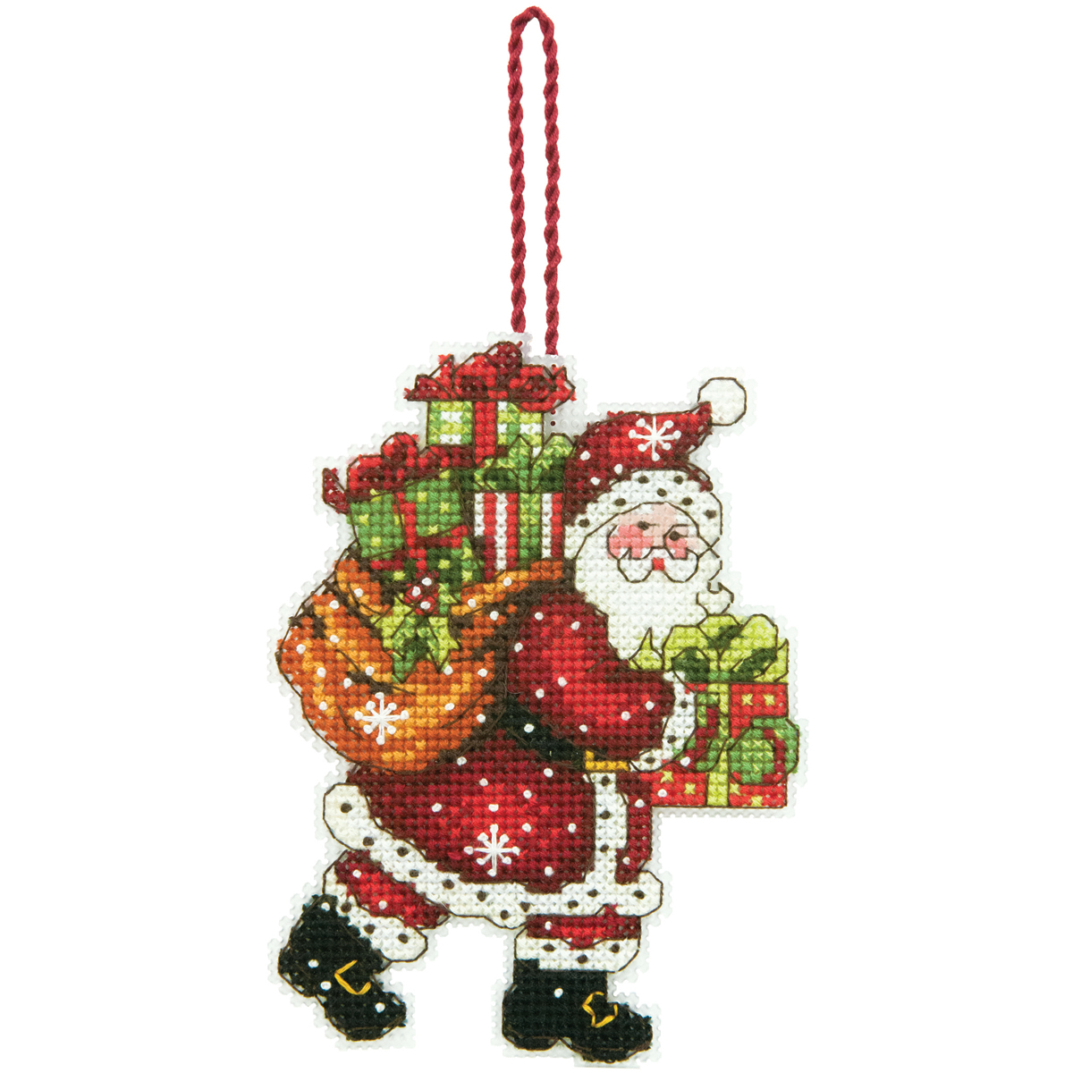 Dimensions Ornament Counted Cross Stitch Kit Santa With Bag