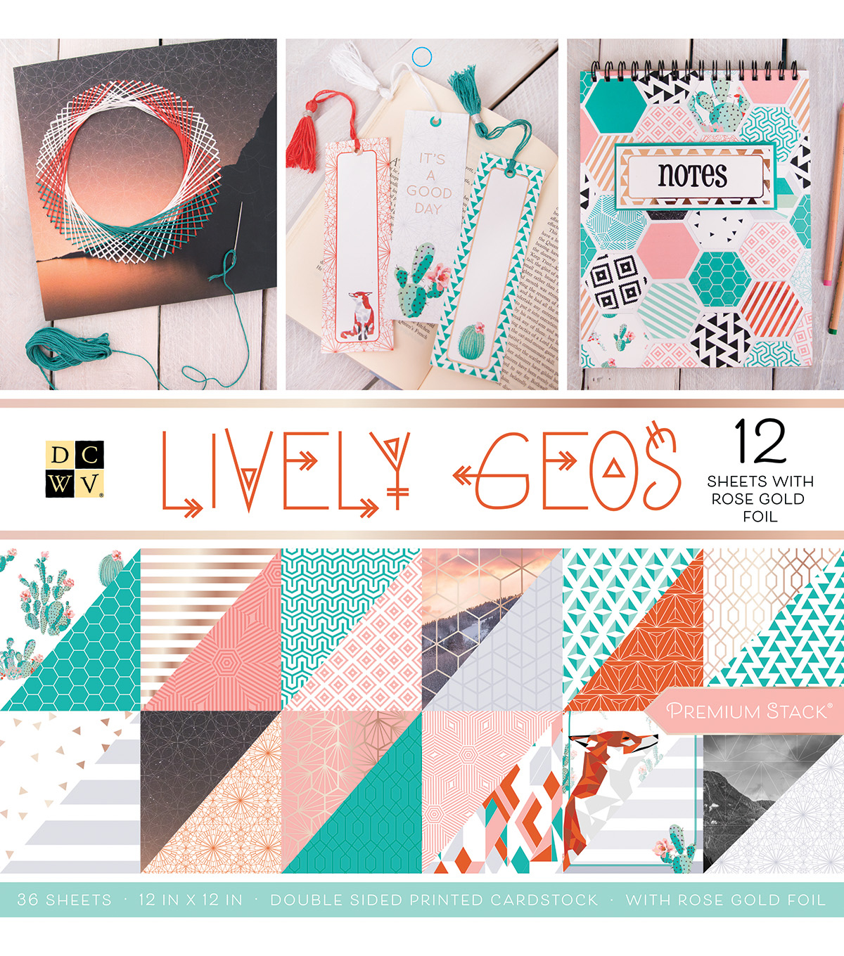 DCWV 36 Pack 12''x12'' Premium Stack Printed Cardstock-Lively Geos