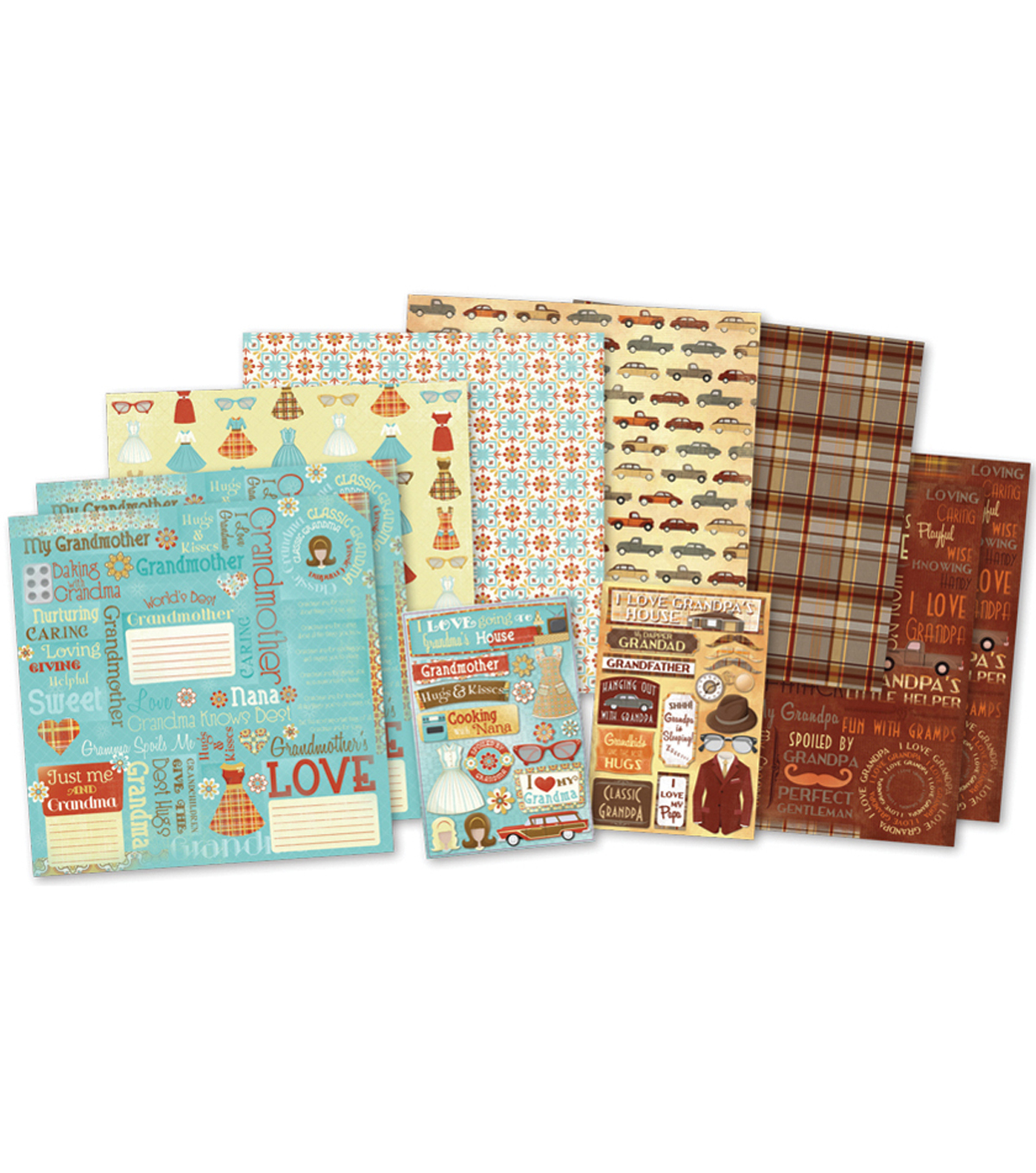 "Classic Grandparents Scrapbook Page Kit 12""X12""-"