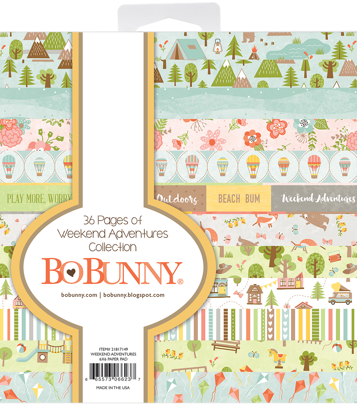 BoBunny Single-Sided Paper Pad 6\u0022X6\u0022-Weekend Adventures