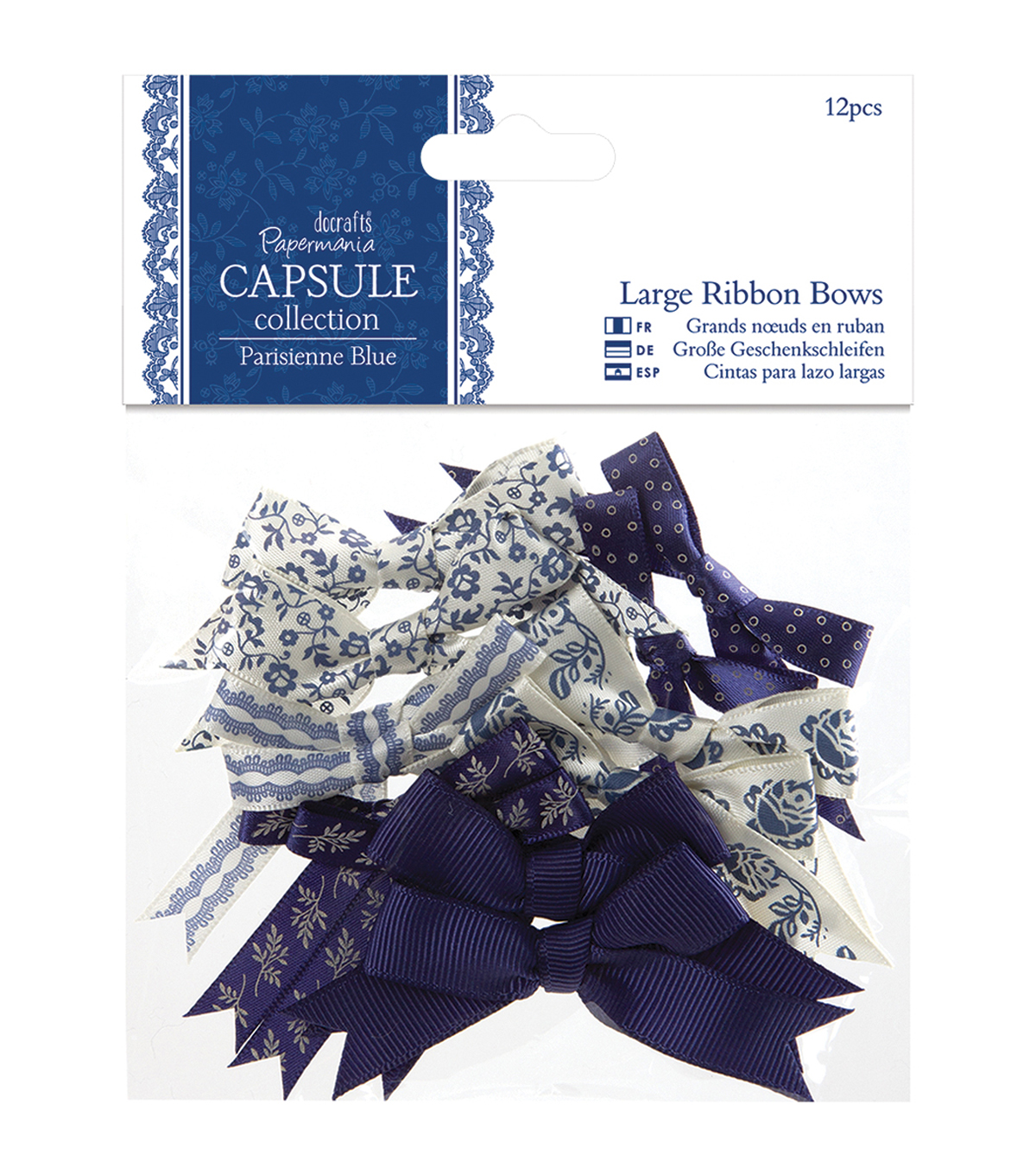 papermania Parisienne Blue Large Ribbon Bows 12/Pkg-