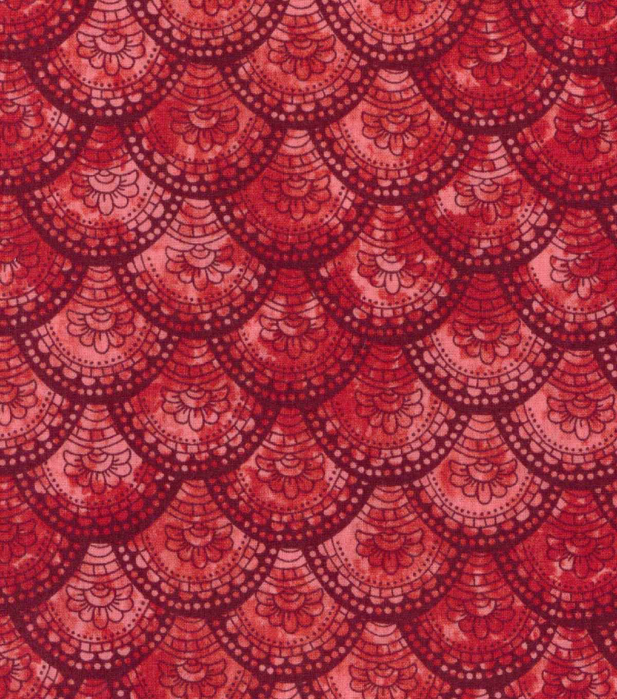 Buttercream™ Poppy Collection Cotton Fabric-Floral Fan Red