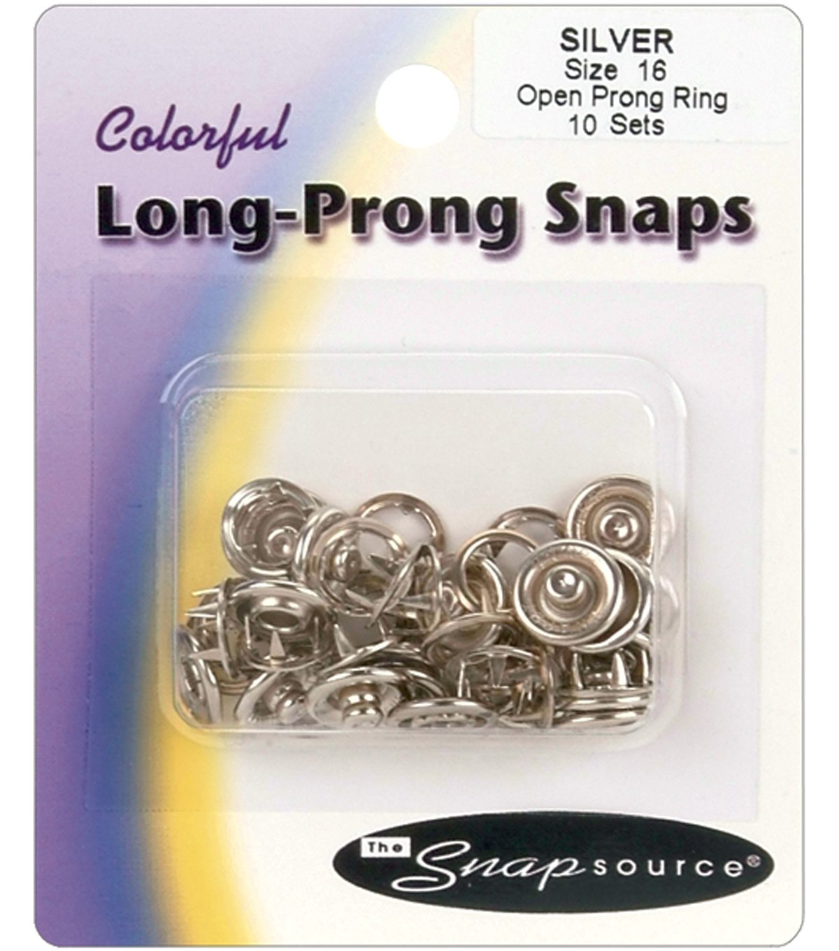 Open Prong Ring Snaps Size 16-10 Sets/Pkg.-Black