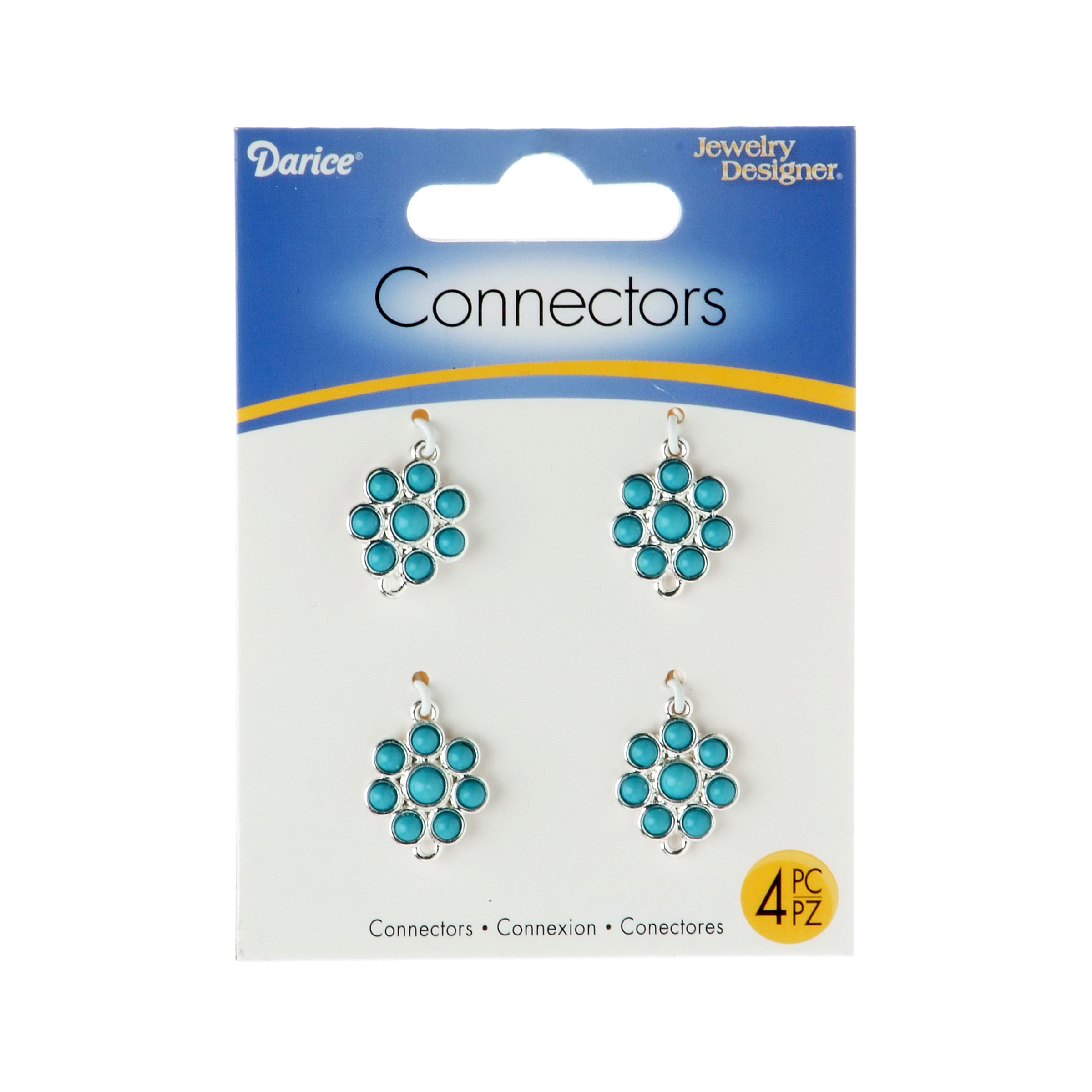 14mm Connectors Turquoise Flower, Silver Base