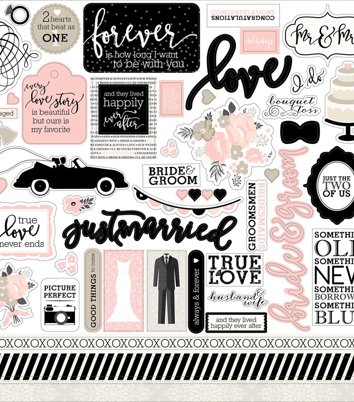 Wedding Bliss Cardstock Stickers 12\u0022X12\u0022-Elements