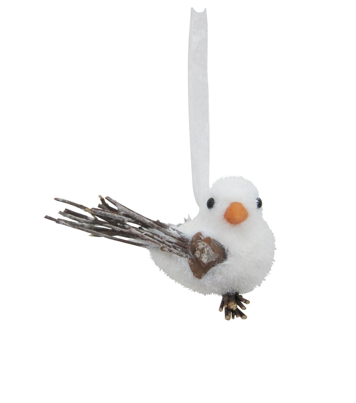 Maker\u0027s Holiday Christmas Bird with Natural Wings Ornament-White