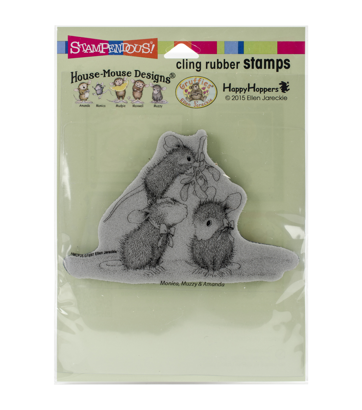 Stampendous® House Mouse Cling Rubber Stamp-Mistletoe Mice