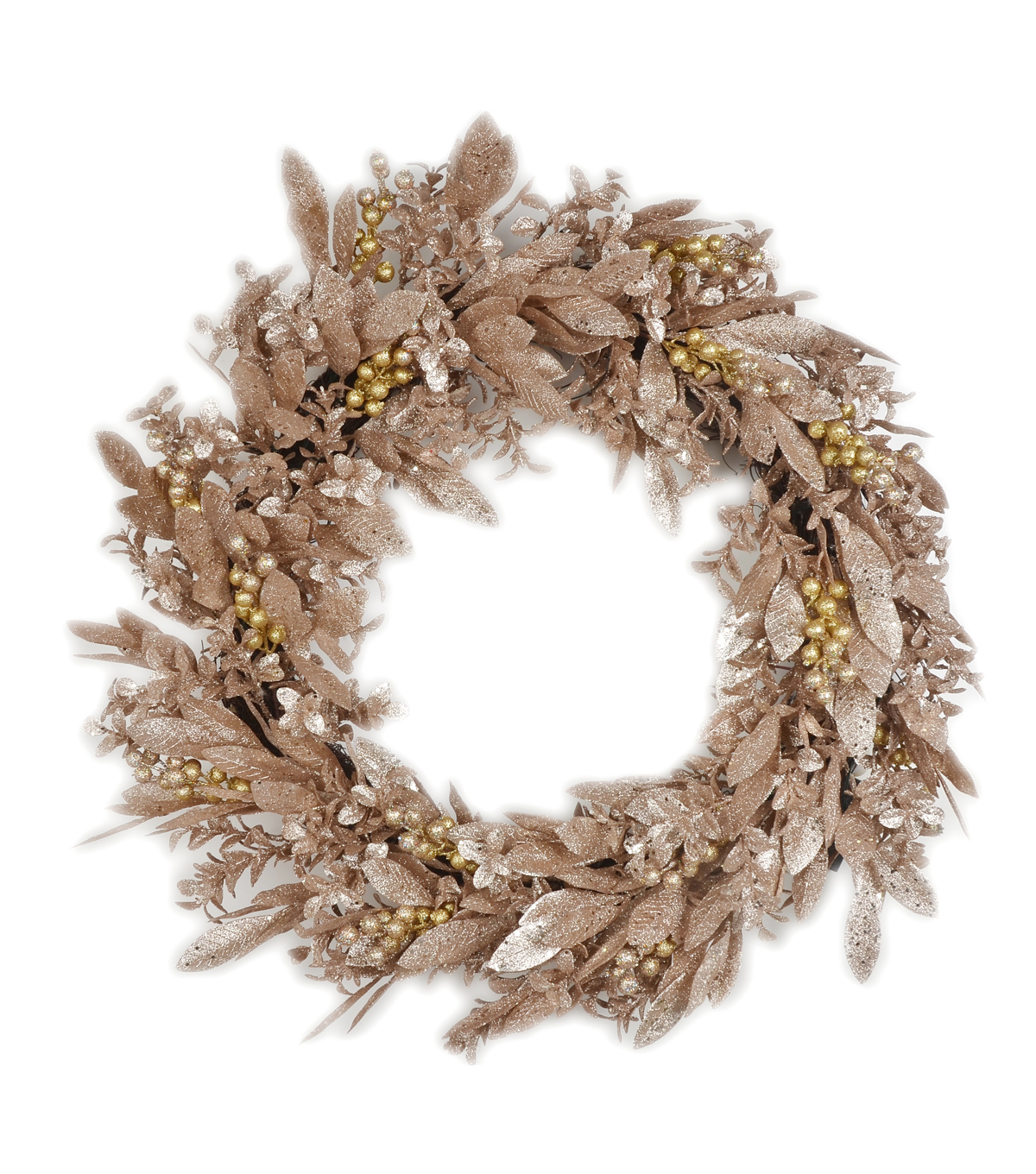Blooming Holiday 28'' Glitter Leaf Wreath-Champagne