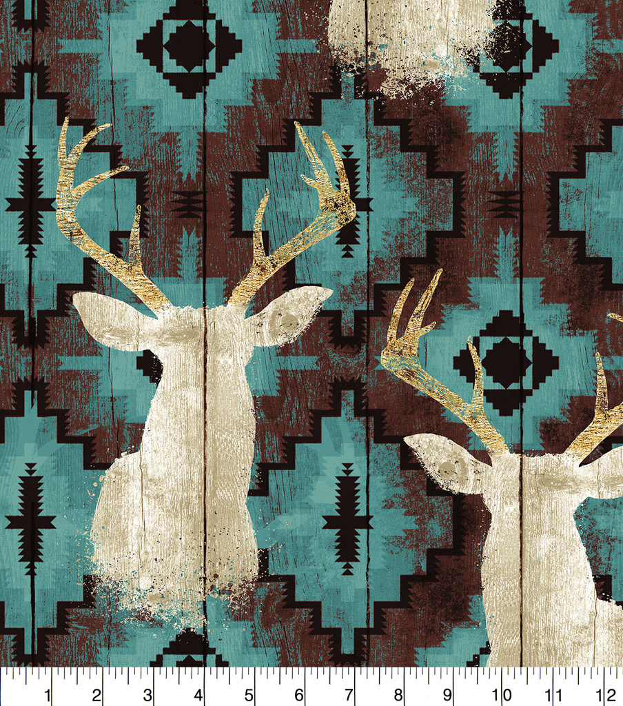 Anti-Pill Fleece Fabric 58\u0022-Stag Head On Turq Aztec