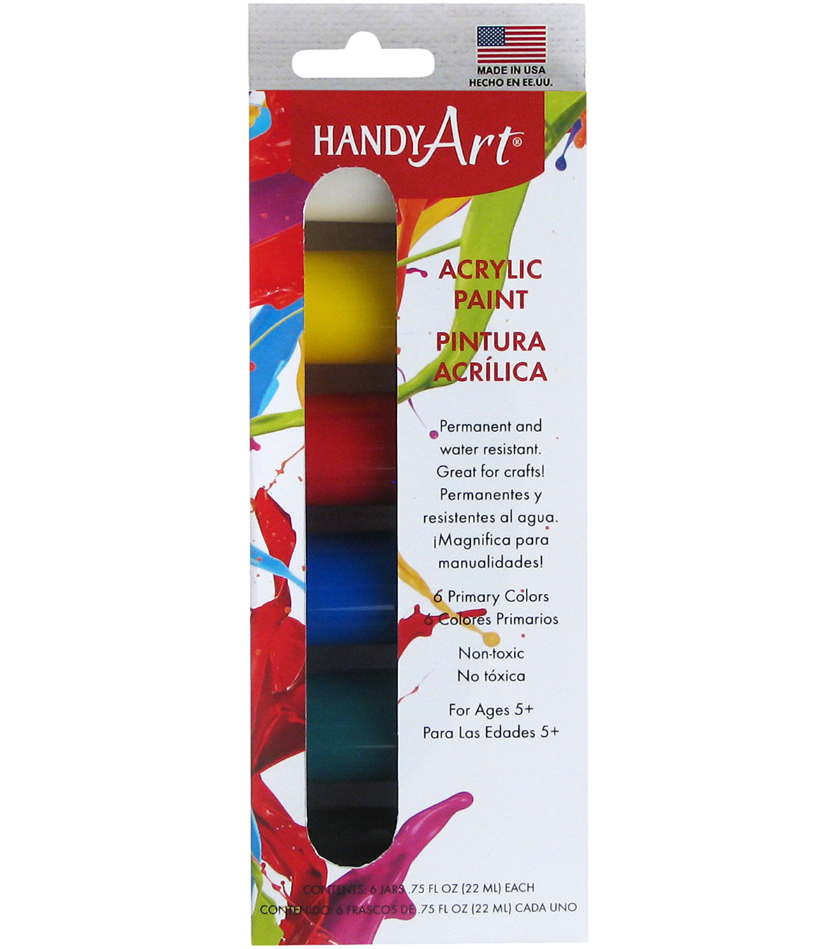 Handy Art Acrylic Paint Kit .75oz 6/Pkg