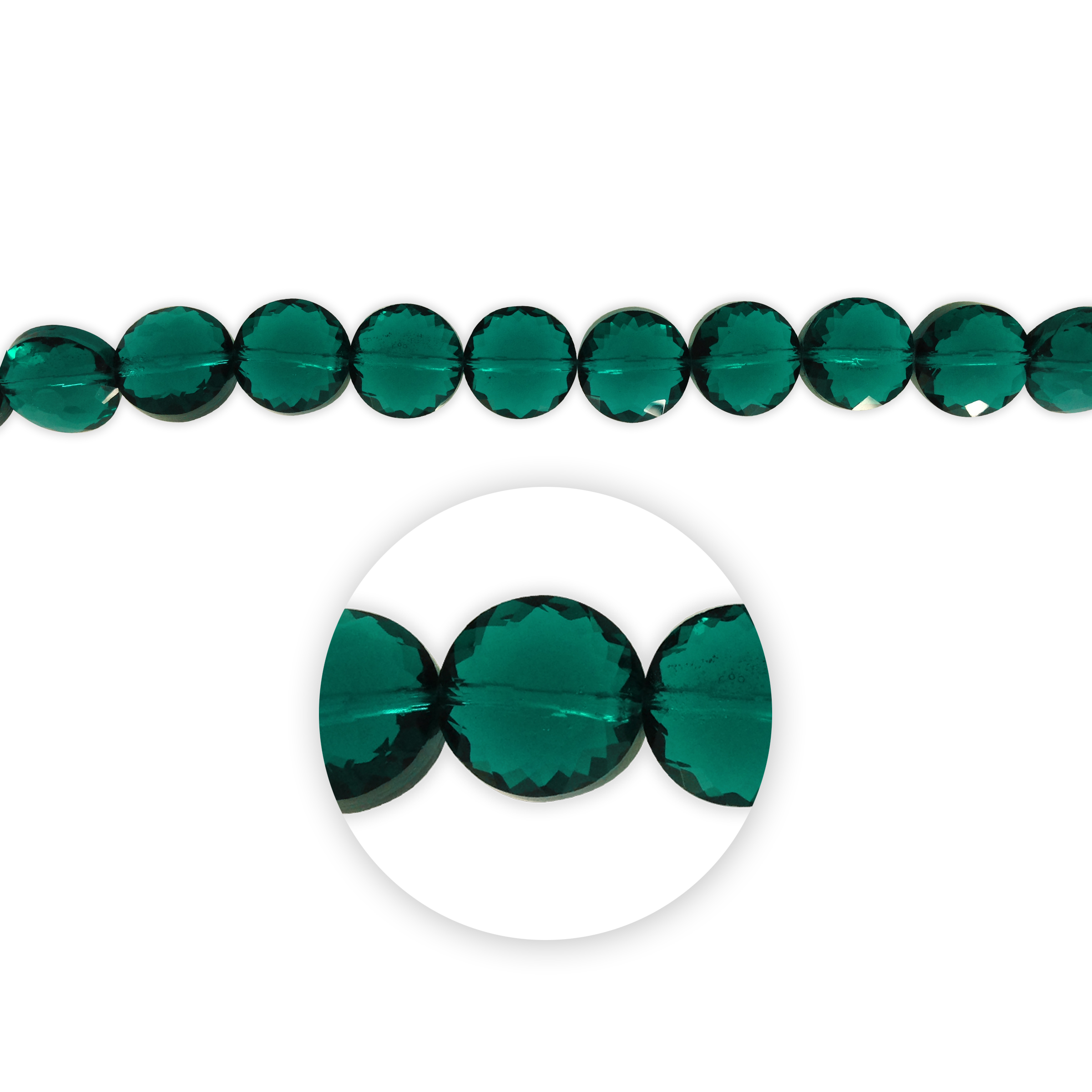 Blue Moon Beads 7\u0022 Crystal Strand, Coin-Shaped with flower facets, Teal