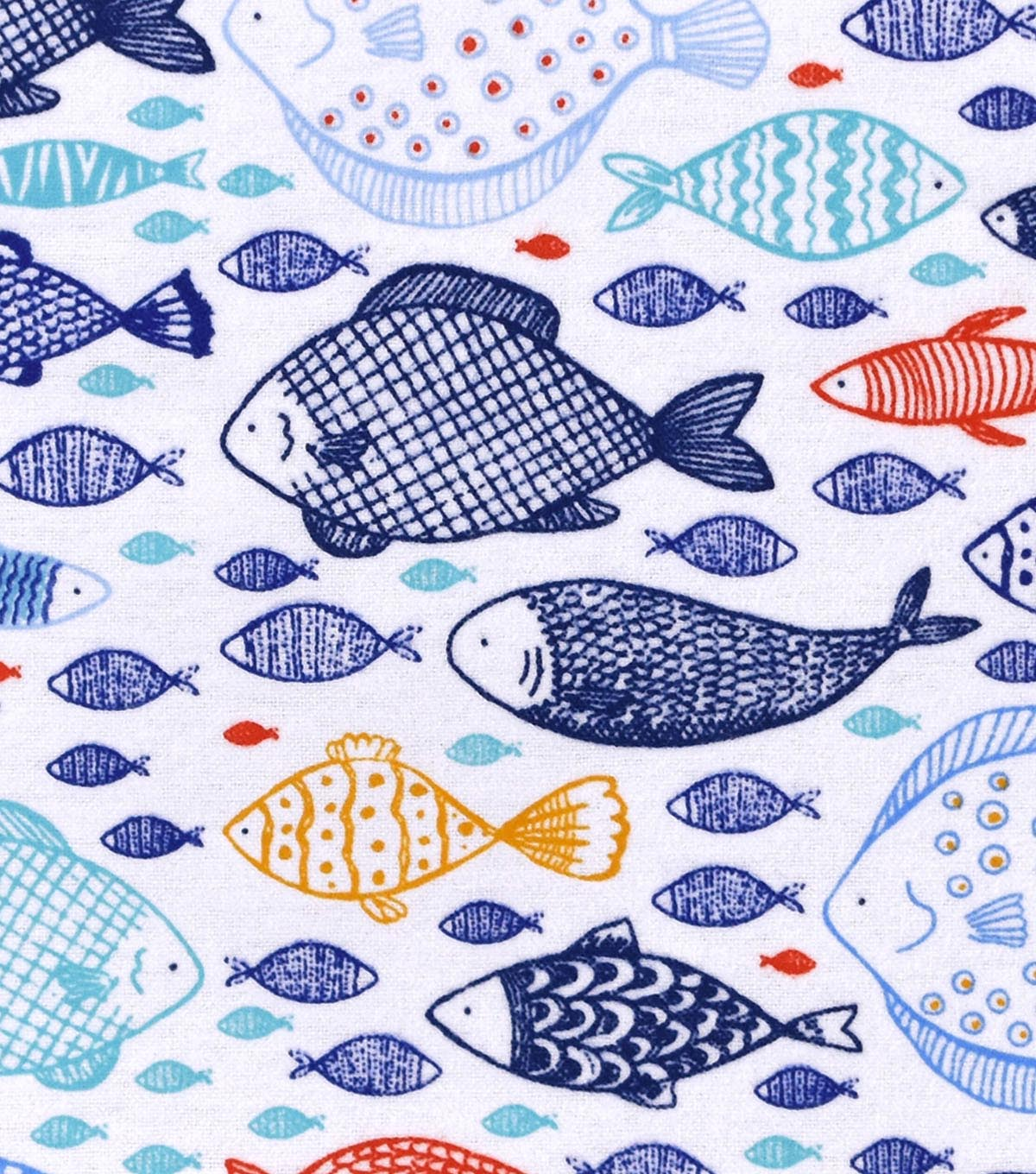 Snuggle Flannel Fabric 42\u0022-Fishes