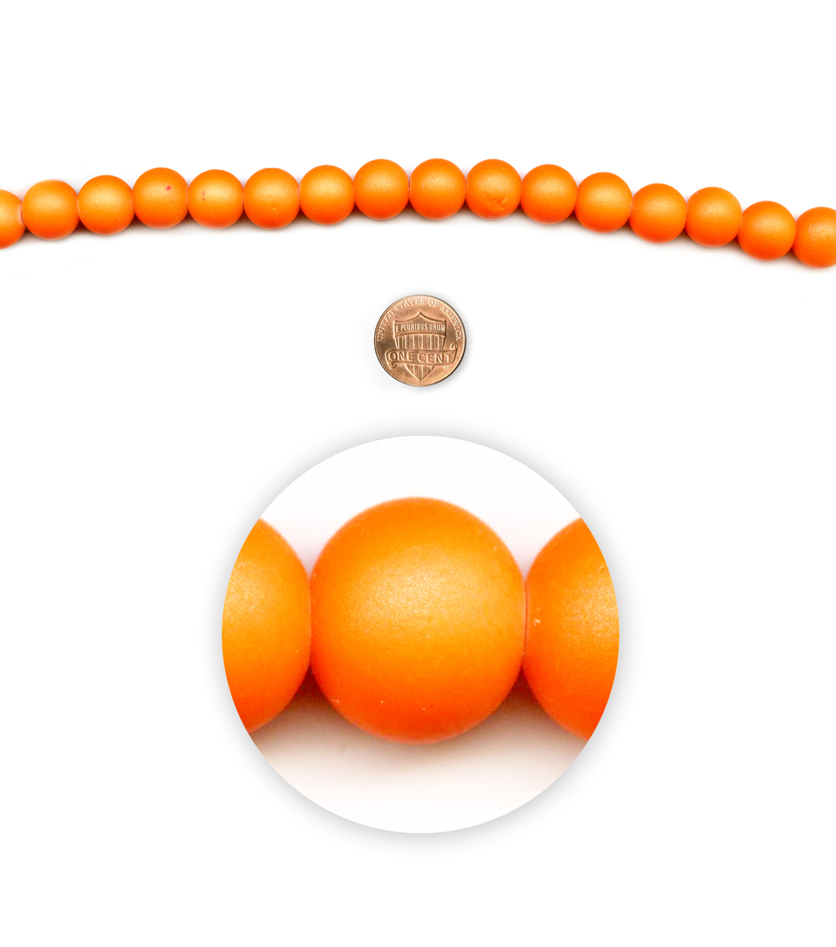 Blue Moon Beads 7\u0022 Strand, Neon Orange Coated Glass, 12mm round