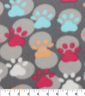 Blizzard Fleece Fabric 59\u0022-Paw Prints And Dots
