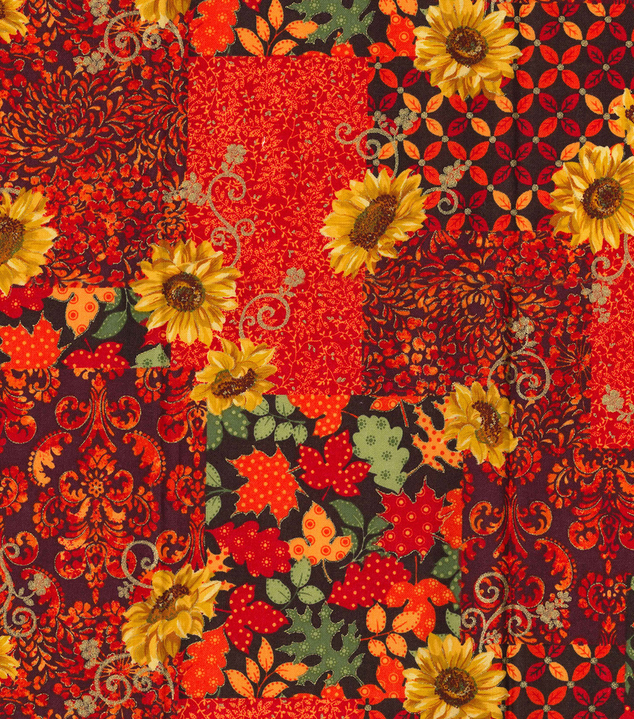 Harvest Cotton Fabric 43\u0022-Autum Festival Metallic