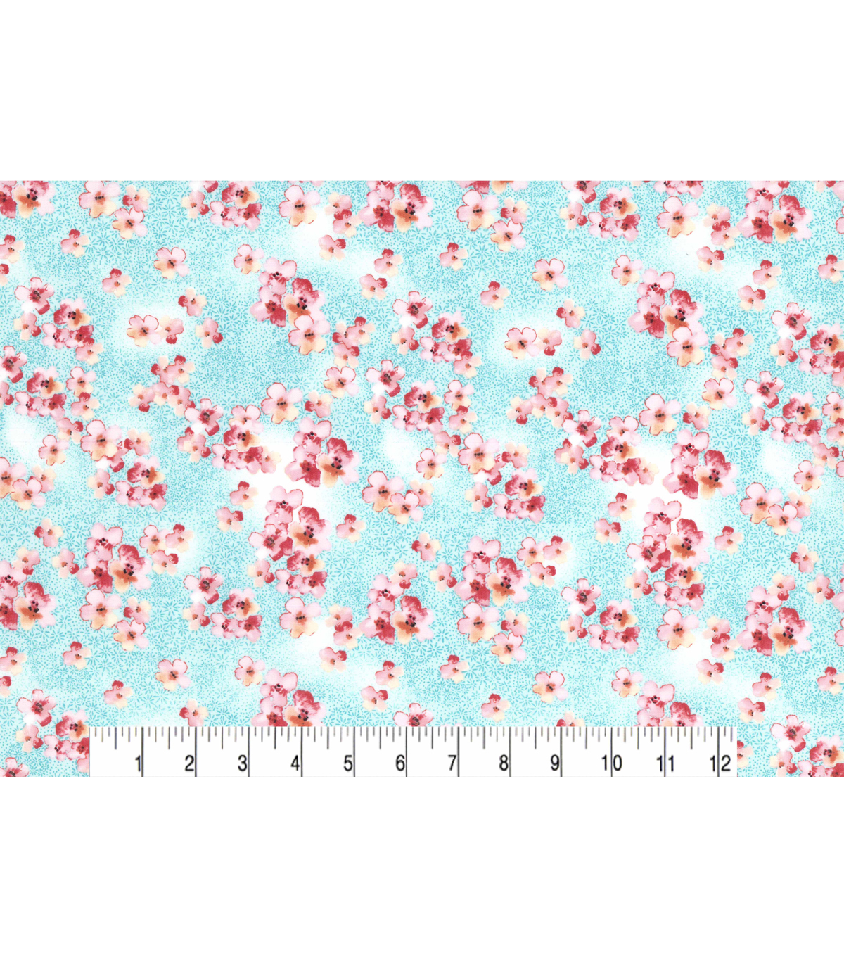 Asian Inspired Cotton Fabric 43\u0022-Tossed Cherry Blossoms