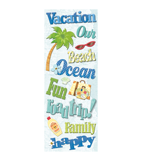 Happy Trails Words Adhesive Chipboard