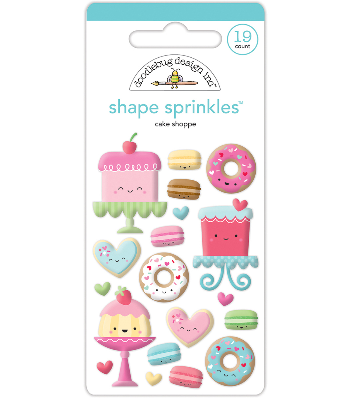 Sprinkles Adhesive Glossy Enamel Shapes-Cream & Sugar Cake Shoppe