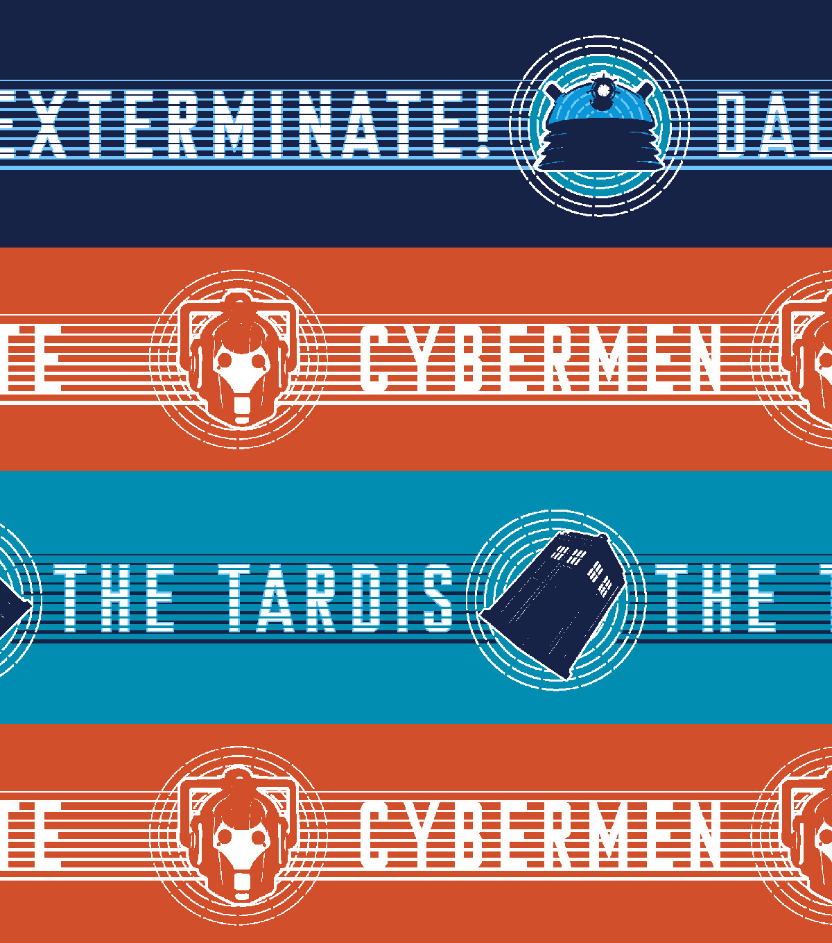 Doctor Who Flannel Fabric 42\u0027\u0027-Tardis & Dalek Cyberman Stripe