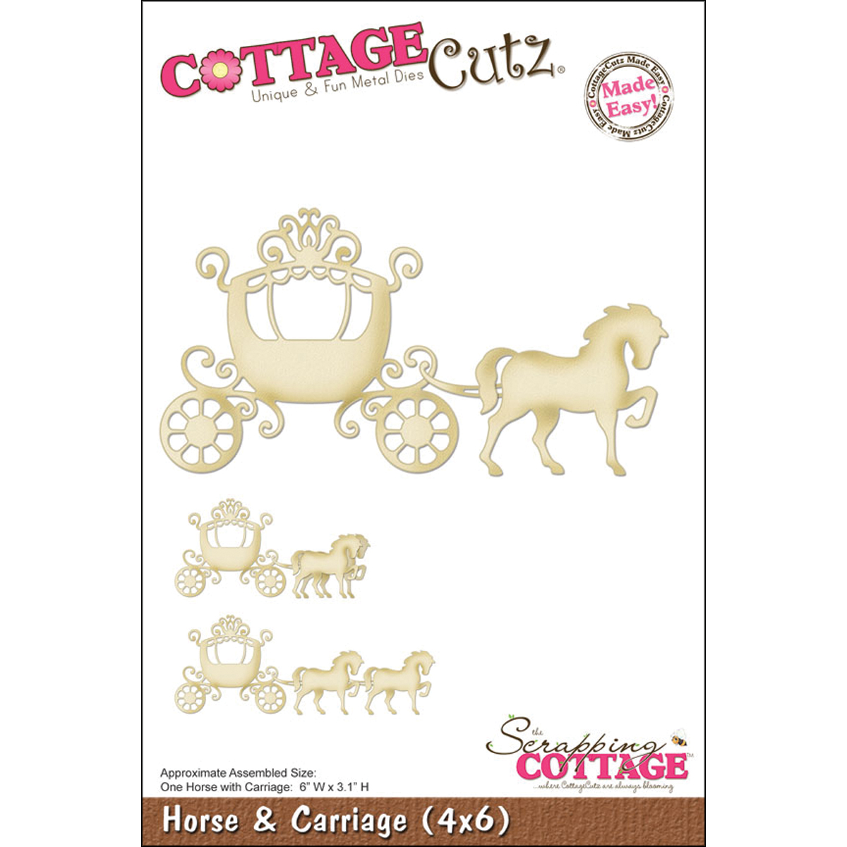 CottageCutz Made Easy Die Horse And Carriage