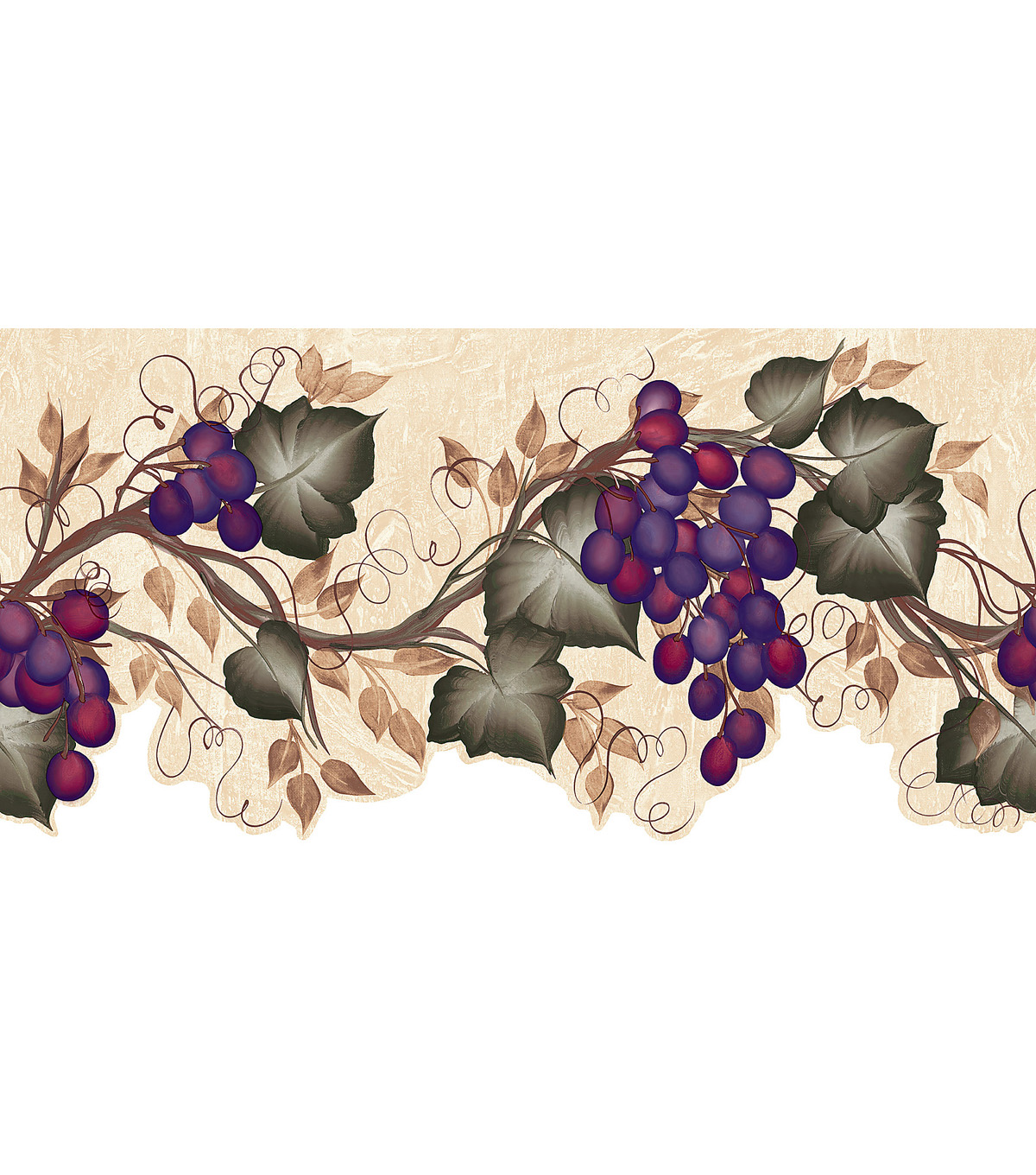 Ivy Grape Vine Die-Cut Wallpaper Border, Green Sample