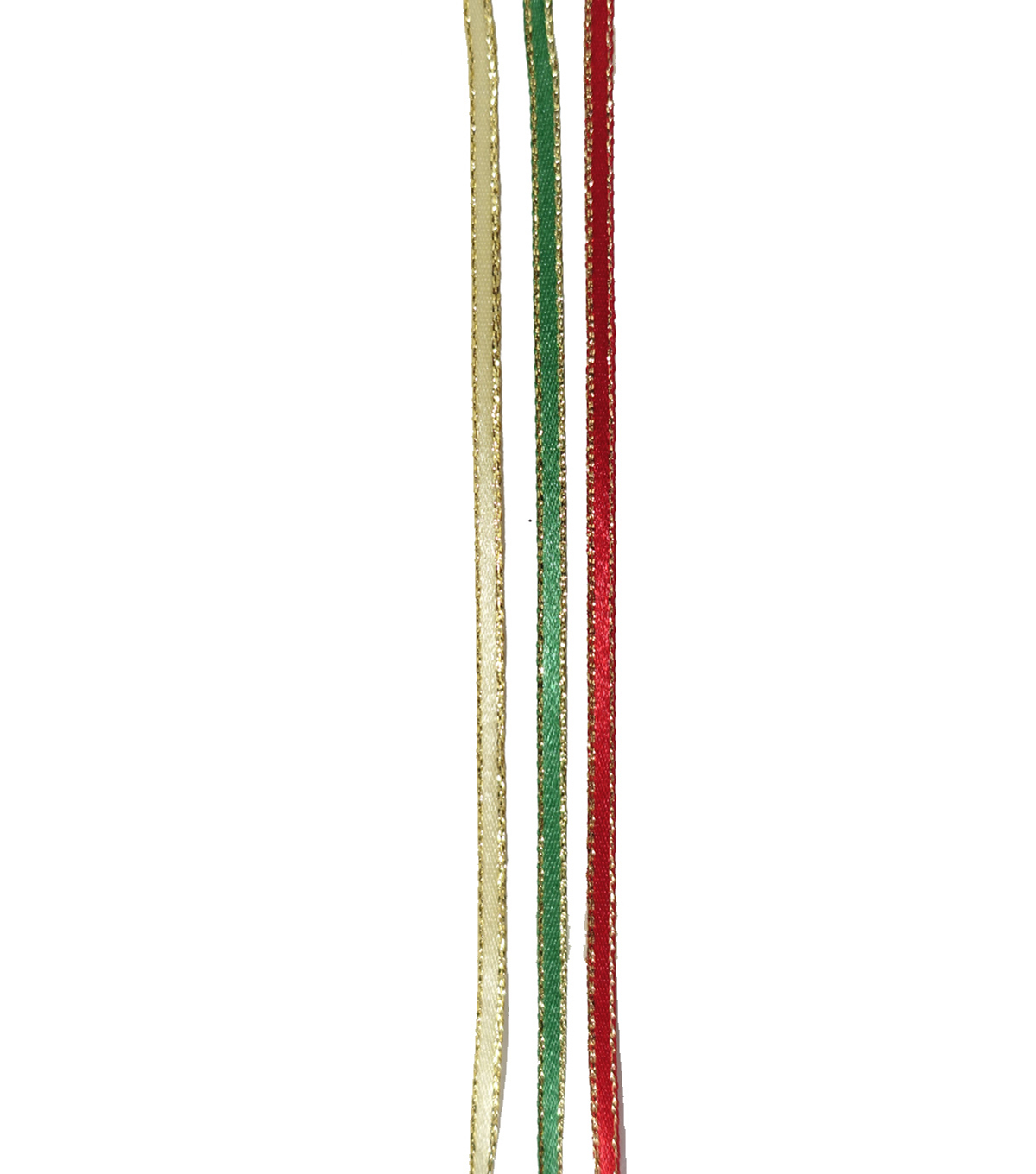Maker\u0027s Holiday Satin Ribbon 1/8\u0027\u0027x54\u0027-Red, Green & Gold with Gold Edge