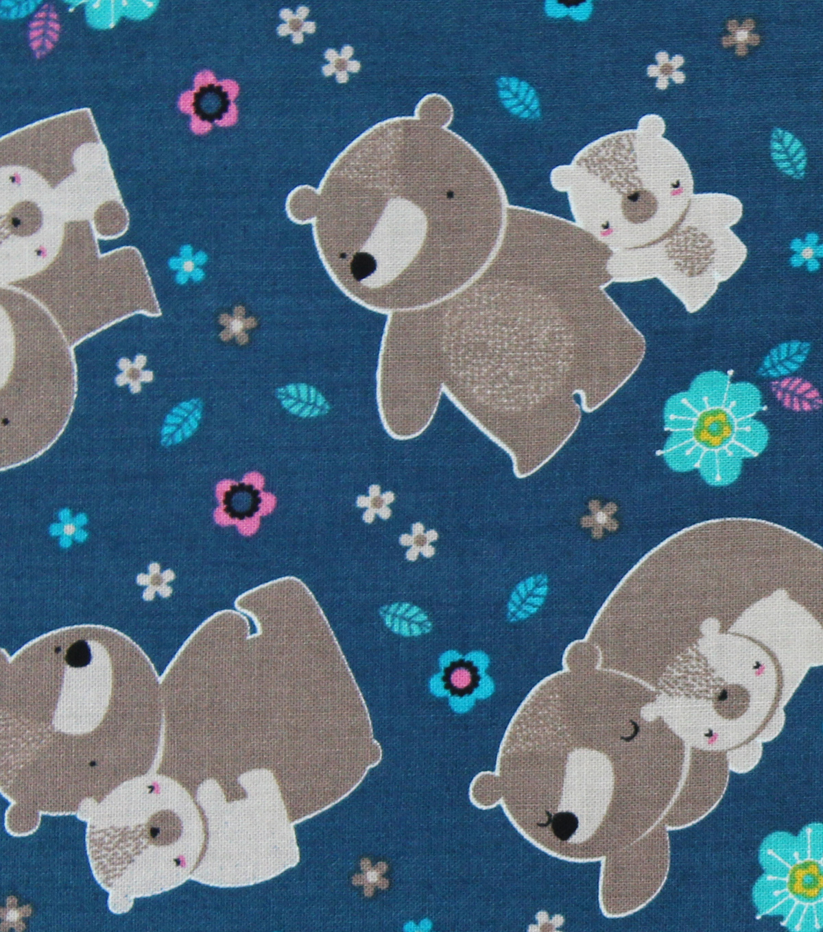 "Novelty Cotton Fabric 44""-Mama & Me Bears On Teal"