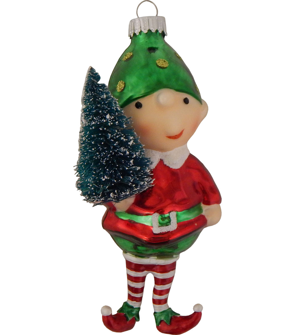 Maker\u0027s Holiday Christmas Whimsy Workshop Elf with Sisal Tree Ornament