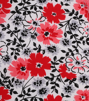 1930\u0027s Cotton Fabric 43\u0022-Large Floral On White