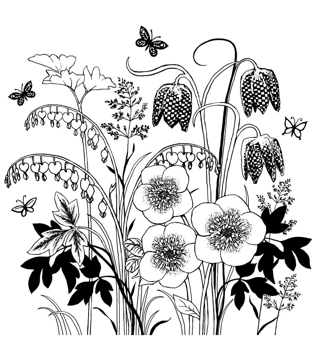 Crafty Individuals Spring Flower Garden Unmounted Rubber Stamp