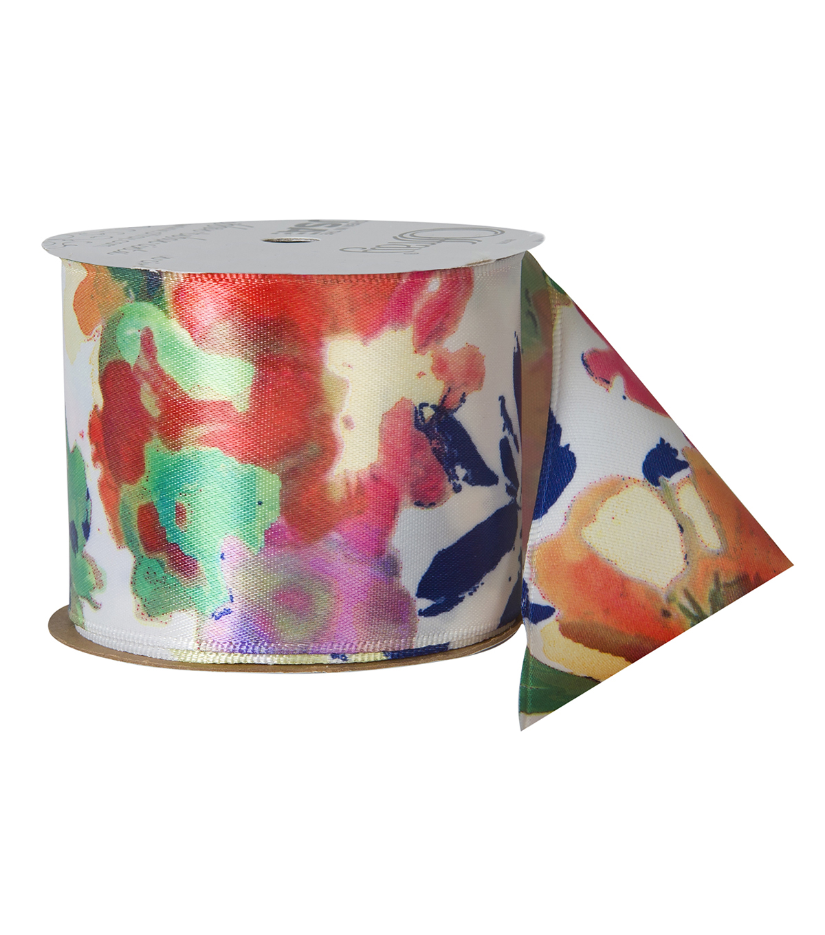 Offray 2.25\u0022x9\u0027 Artzy Floral Satin Wired Edge Ribbon-Multi