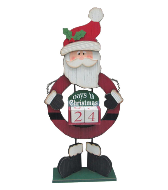 Maker\u0027s Holiday Wood Countdown To Christmas Decor Santa